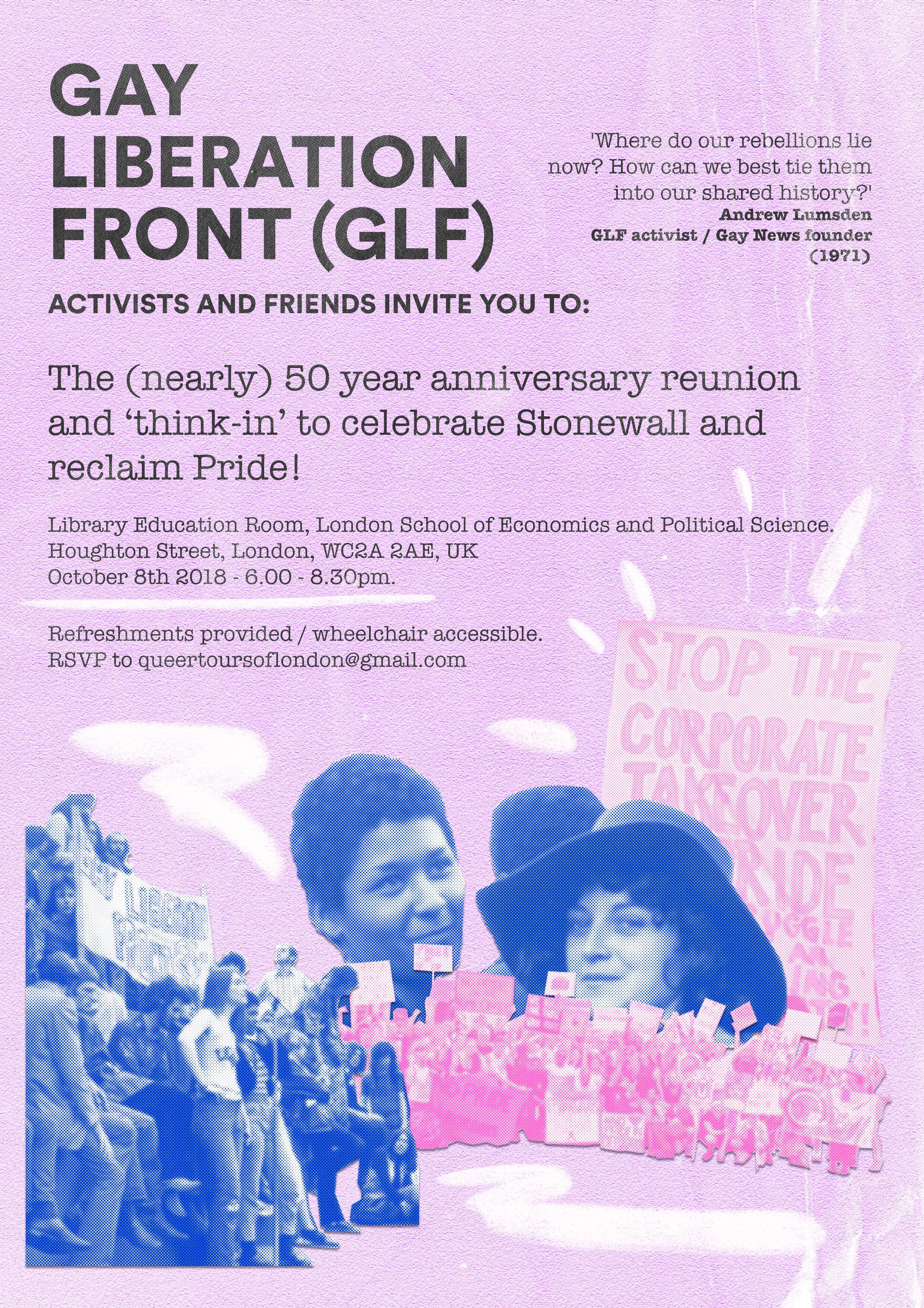 Special Invite to 'Gay Liberation Front' think-in and reunion – 08.10.18 – please RSVP :)
