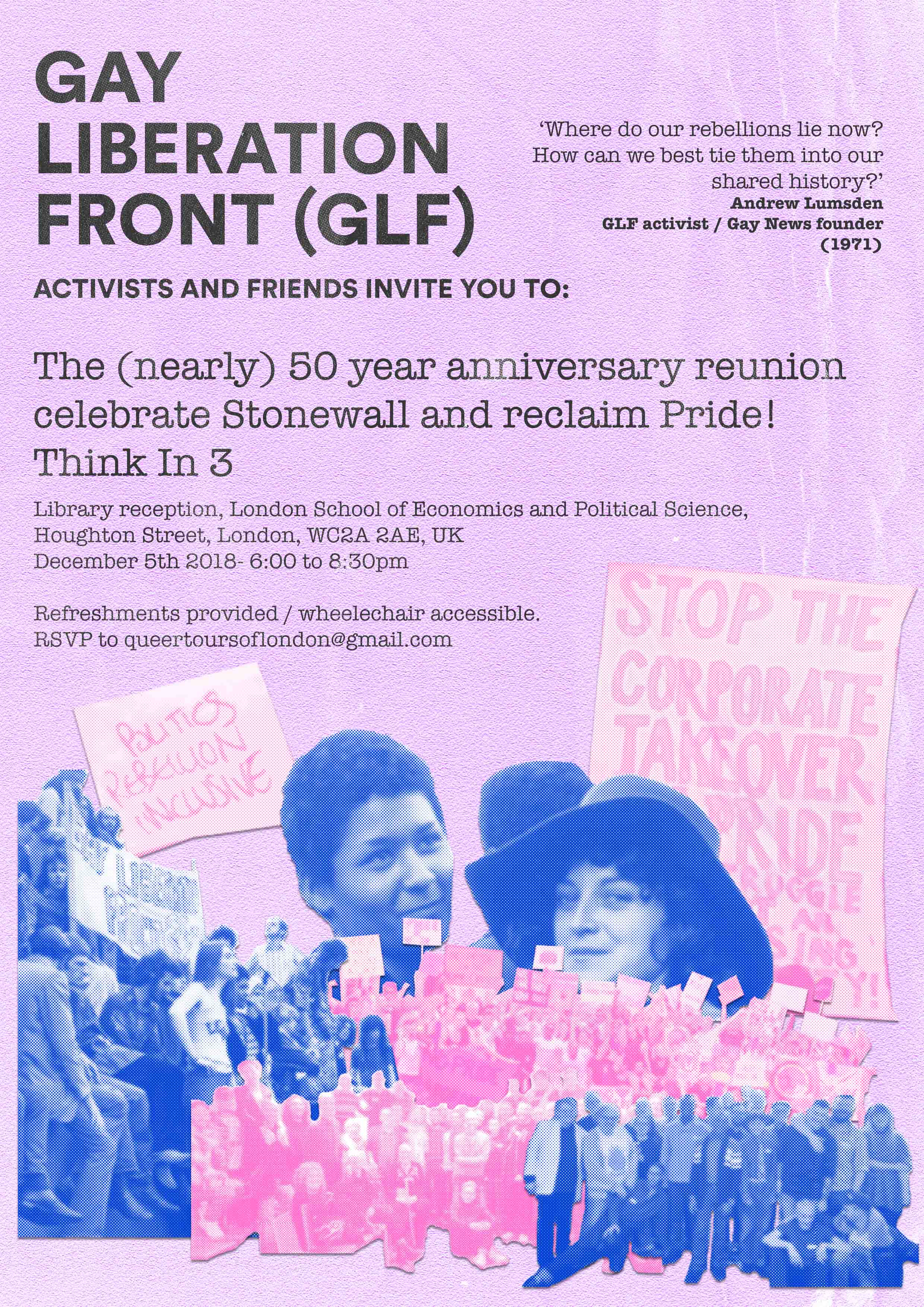 05.12.18 – RSVP for Gay Liberation Front (GLF) and friends 'Think In 3' to Reclaim Pride!