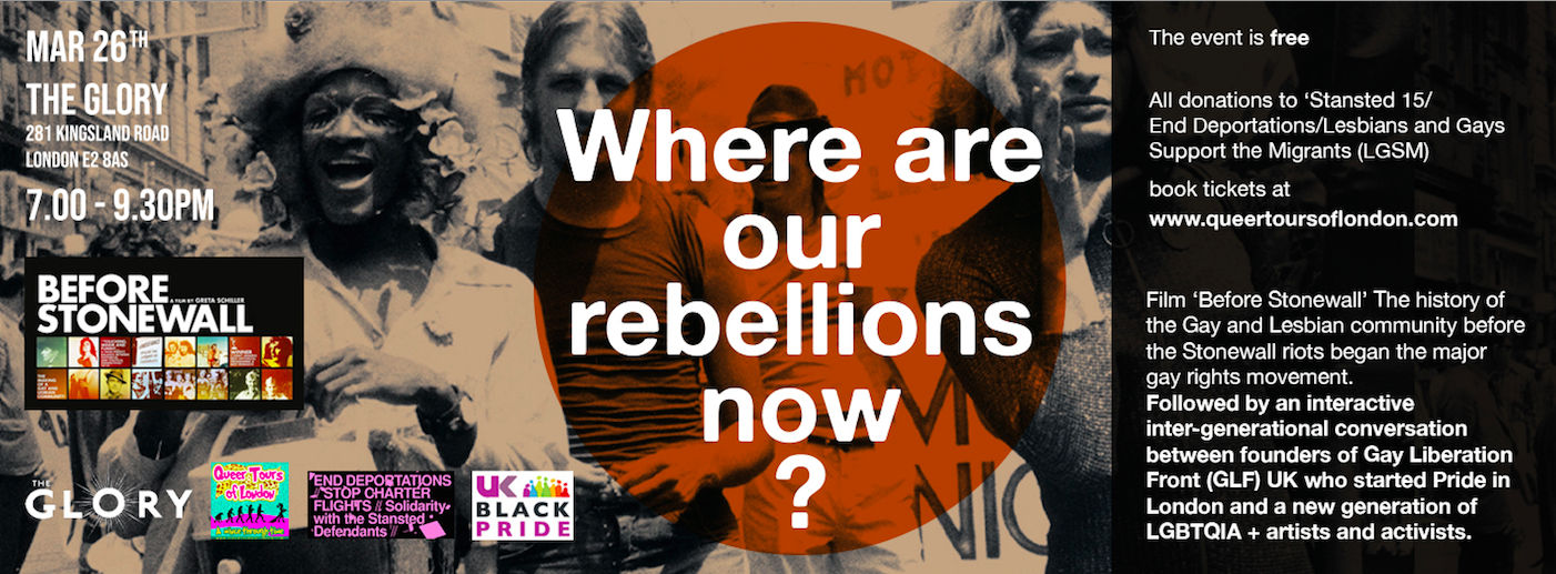 26.03.19 – Back by Popular Demand 'Where are our rebellions now?' Before Stonewall film, panel and party