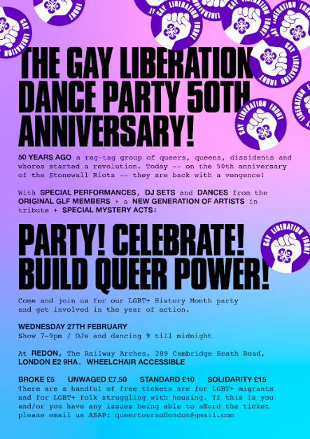 27.02.19 – The 'Gay Liberation Front' Dance Party – 50th Anniversary Special!